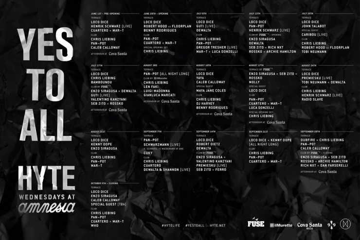 HYTE line up 2016 ibiza